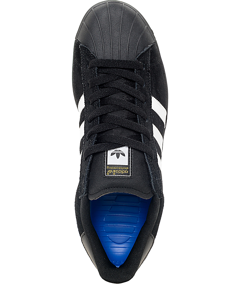 615143b2 adidas Superstar Vulc ADV Black Suede & White Shoes