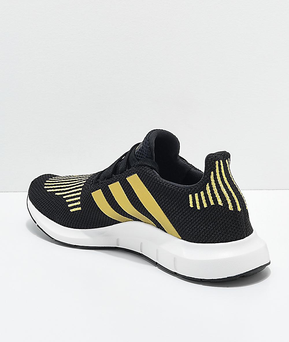 4e640a8c1326 adidas Swift Run Black & Gold Shoes | Zumiez