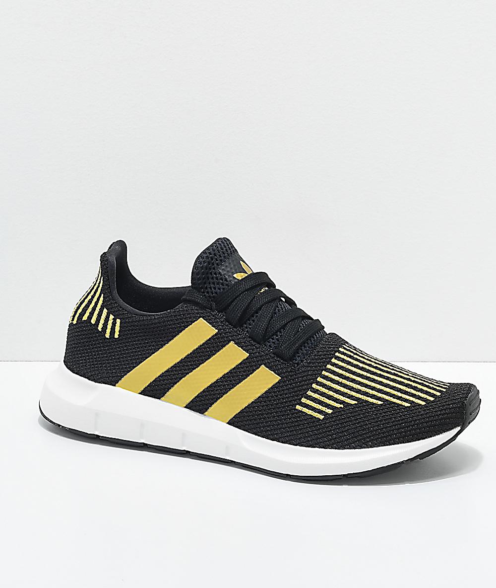 adidas Swift Run Black & Gold Shoes