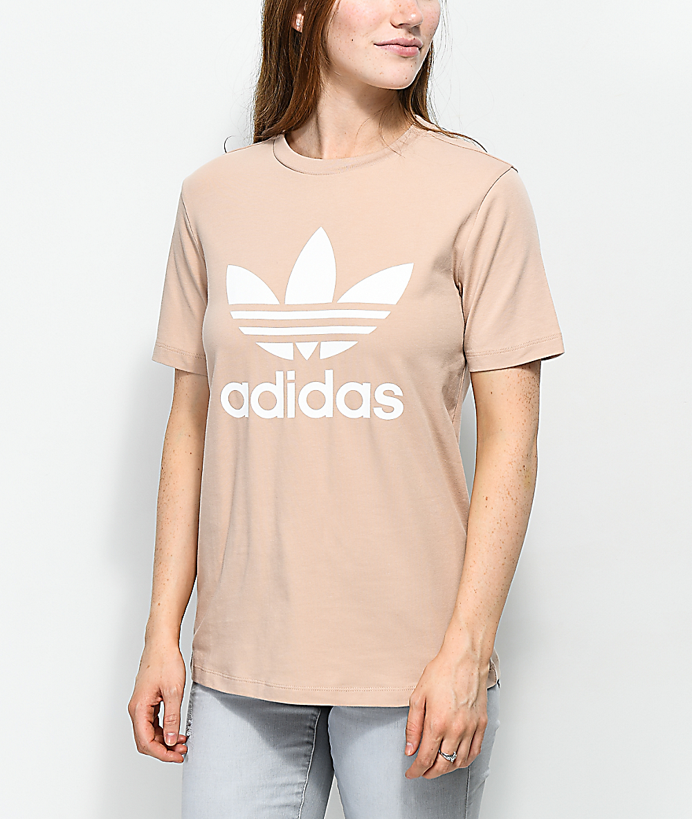 66620c1a00 adidas Trefoil Ash Pearl & White T-Shirt