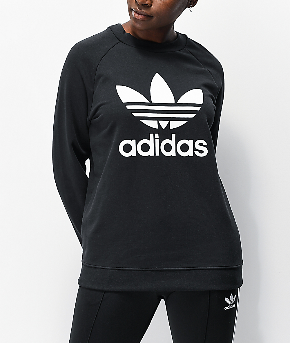 adidas Trefoil Crewneck Black Sweatshirt