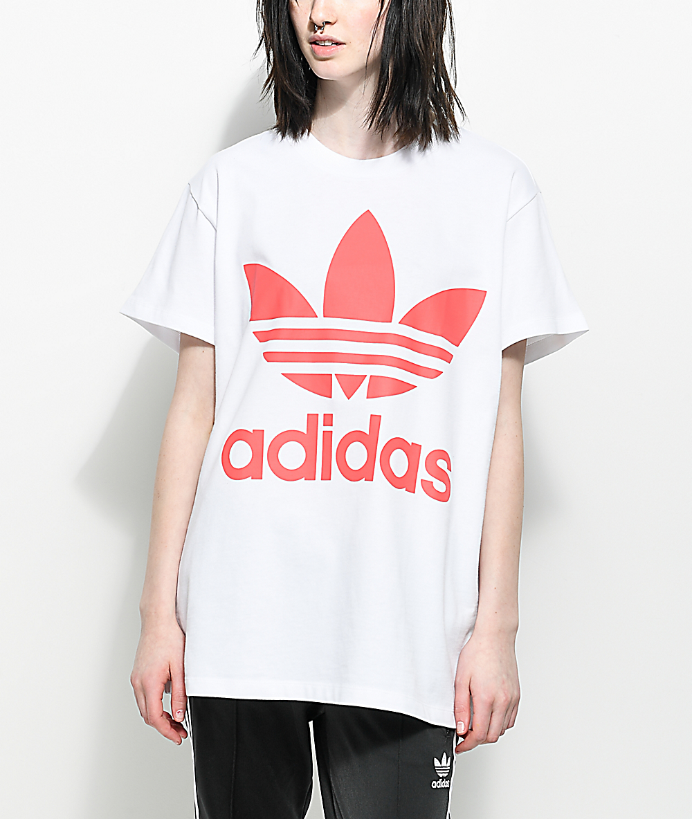 6e8ca75f3f adidas Trefoil White & Hot Pink Oversized T-Shirt
