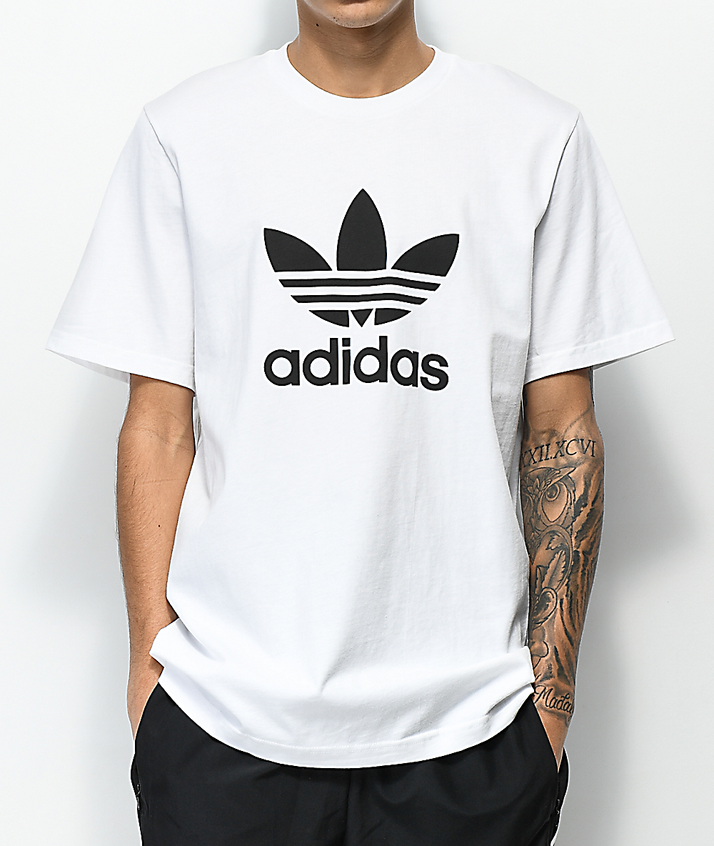 Trefoil Ribbed T Shirt White