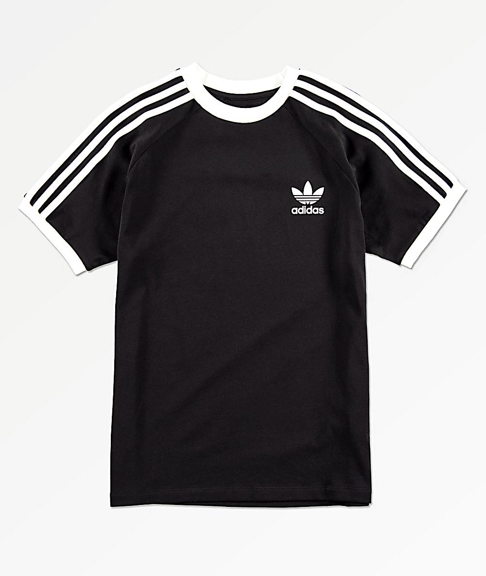 adidas camiseta negra de rayas para niños