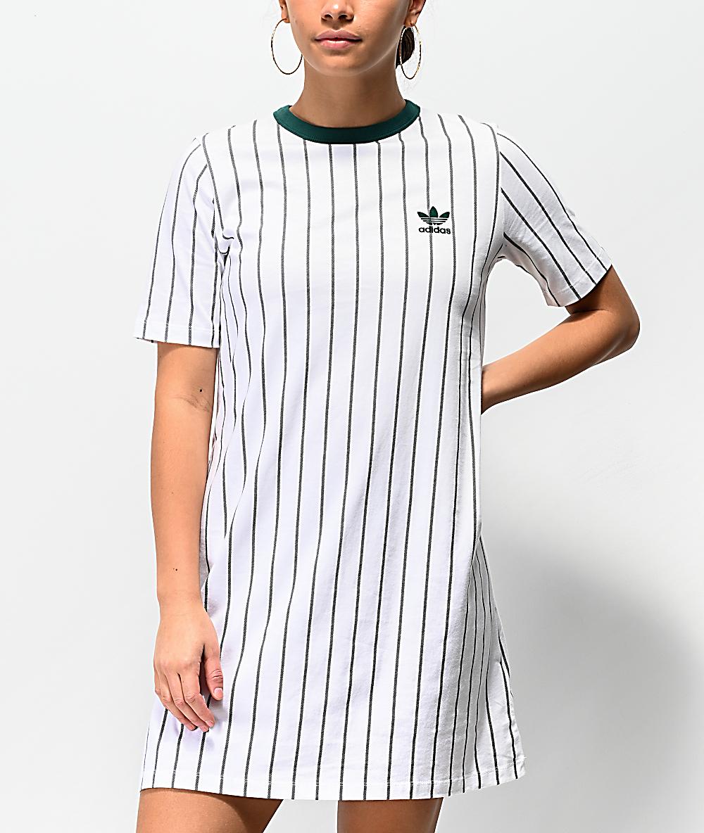 adidas vestido de camiseta blanca de rayas