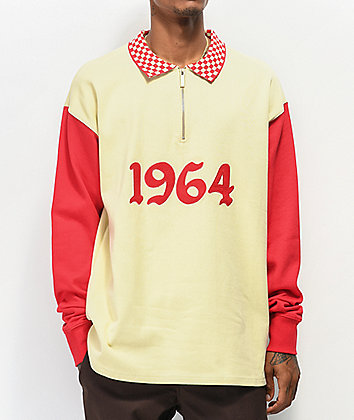 4Hunnid 1964 Red & Cream Long Sleeve Polo Shirt