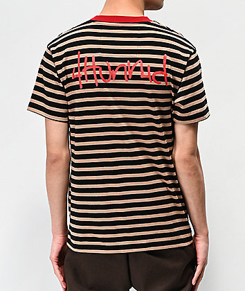 4Hunnid Khaki & Black Striped T-Shirt