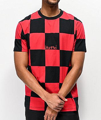 4Hunnid Red & Black Checkered T-Shirt
