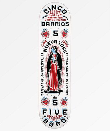 """5Boro Cinco Barrios White 8.0"""" Skateboard Deck"""