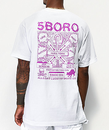 5Boro Lucky NY White & Purple T-Shirt