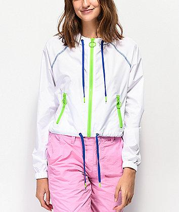 A-Lab Chaya White Crop Windbreaker Jacket