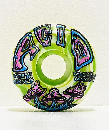 Acid Shroom Swirls Green 54mm 99a Skateboard Wheels