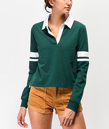 Almost Famous Arm Band Green Crop Long Sleeve Rugby Top