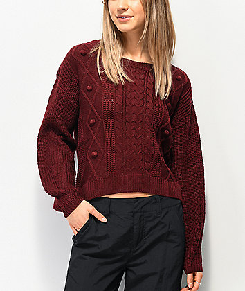Almost Famous Burgundy Crew Neck Sweater