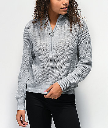 Almost Famous Cory Grey Half Zip Sweater
