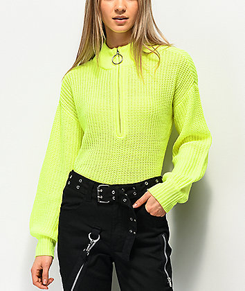 Almost Famous Cory Lime Half Zip Sweater
