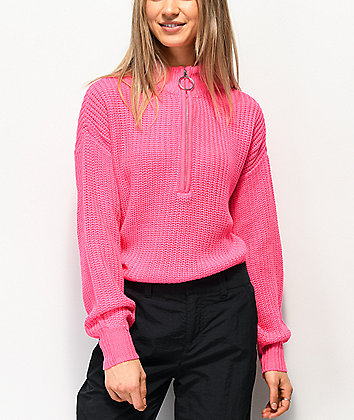 Almost Famous Cory Pink Half Zip Sweater