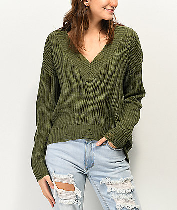 Almost Famous Destructed Olive Green V-Neck Sweater