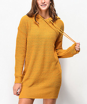 Almost Famous Gold Hooded Sweater Dress