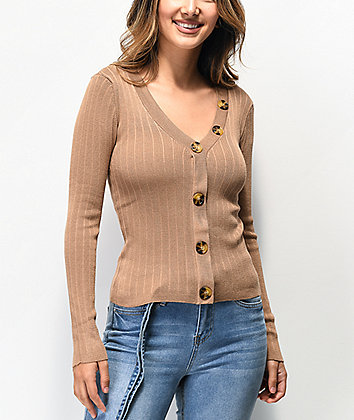 Almost Famous Nora Tan Ribbed Cardigan