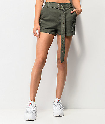 Almost Famous Olive Belted Cargo Shorts