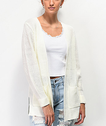 Almost Famous Open Front Ivory Cardigan