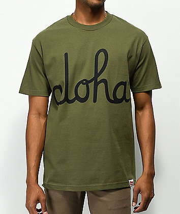 Aloha Army Logo Script Military Green T-Shirt