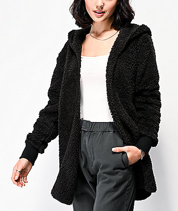 Angel Kiss Macy Black Sherpa Hooded Cardigan