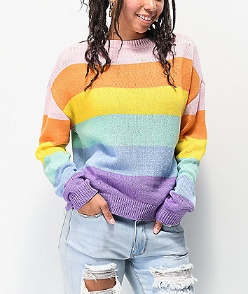 Angel Kiss Rainbow Crew Neck Sweater