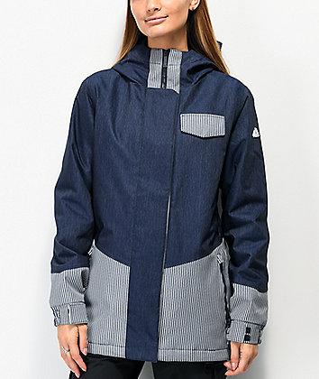 Aperture Capitol Blue Denim Striped 10K Snowboard Jacket