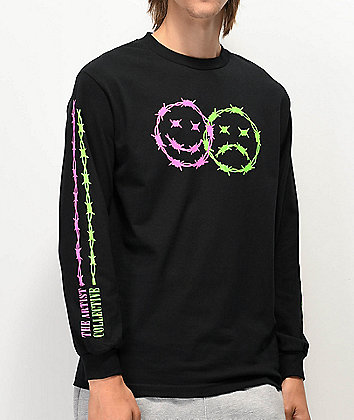 Artist Collective Happy - Sad Black Long Sleeve T-Shirt