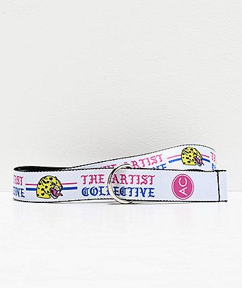 Artist Collective Leopard White Web Belt