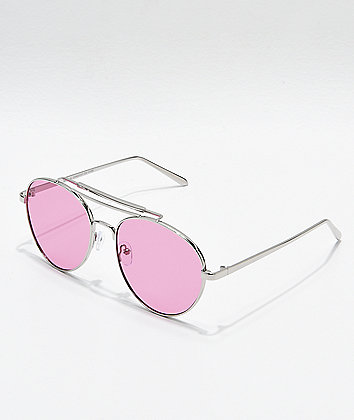 Aviator Shiny Silver & Rose Sunglasses