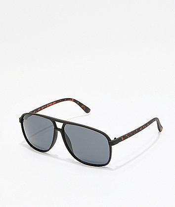 Black & Tortoise Square Aviator Sunglasses