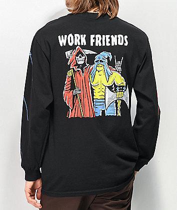 Boss Dog Work Friends Black Long Sleeve T-Shirt