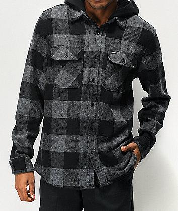 Brixton Bowery Black Hooded Flannel Shirt