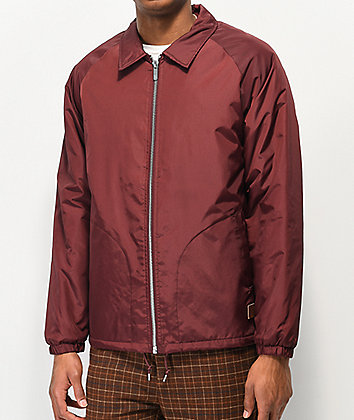Brixton Claxton Burgundy Sherpa Lined Coaches Jacket