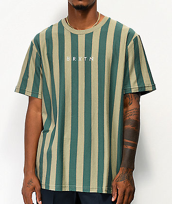 Brixton Hilt Green Stripe Knit T-Shirt