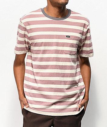 Brixton Hilt Mauve & White Stripe Knit T-Shirt
