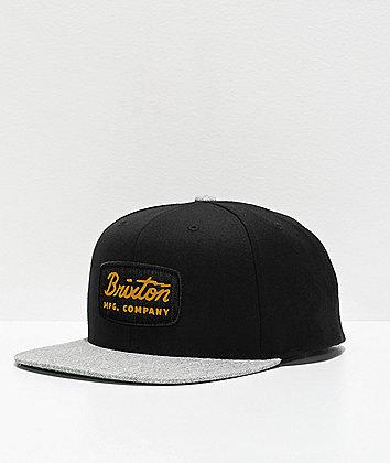 Brixton Jolt Black & Grey Snapback Hat