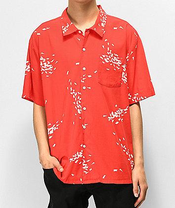 Brixton Lovitz Red & White Short Sleeve Button Up Shirt
