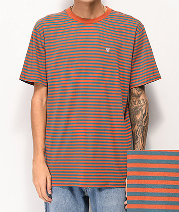 Brixton Pablo Henna & Blue Striped Knit T-Shirt
