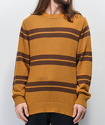 Brixton Wes Gold & Brown Crew Neck Sweater