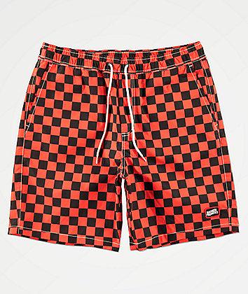 Broken Promises Checkered Past Red & Black Elastic Waist Shorts