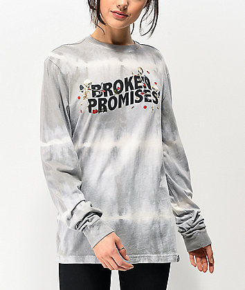 Broken Promises Cupids Bow Grey Tie Dye Long Sleeve T-Shirt