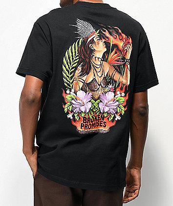 Broken Promises Heart On Fire Black T-Shirt
