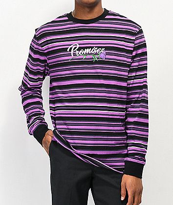 Broken Promises Misery Purple & Black Stripe Knit Long Sleeve T-Shirt