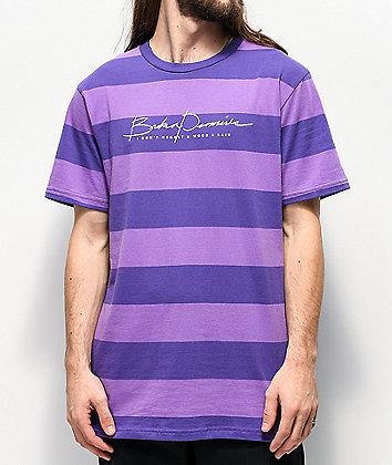 Broken Promises Post Script Block Purple Striped T-Shirt