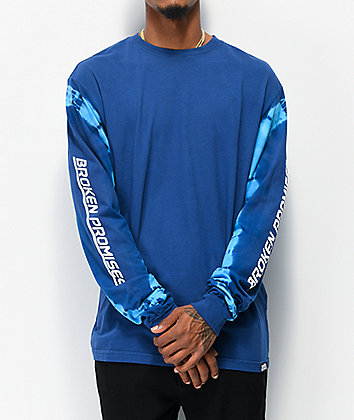 Broken Promises Powerglide Navy & Black Tie Dye Long Sleeve T-Shirt