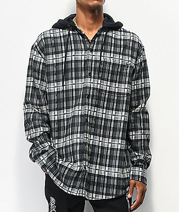 Broken Promises Risk It All Black Hooded Flannel Shirt